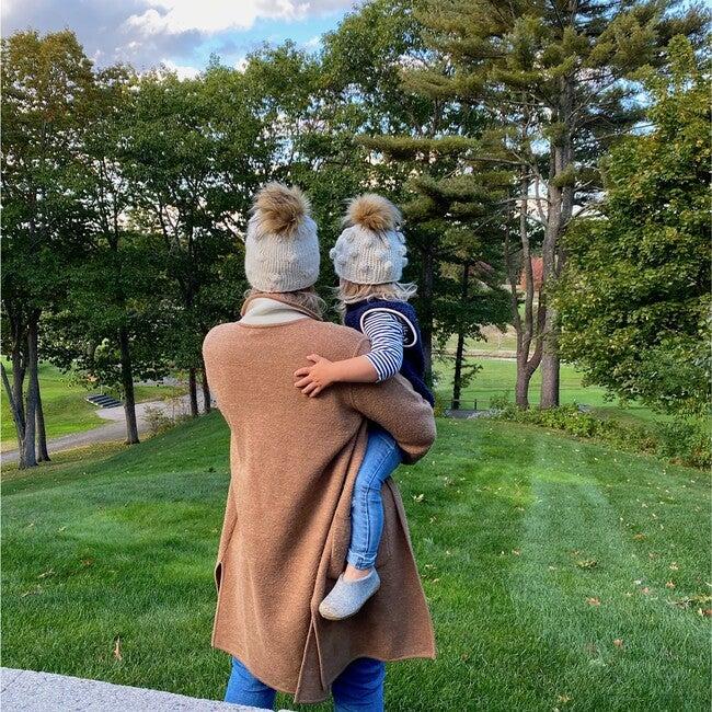 The Campbell Mommy + Me Faux Fur Beanie Bundle, White Lie