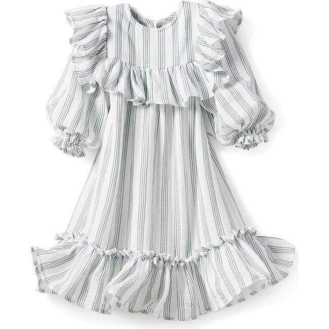 Andrea Dress, Gauze Blue Stripes