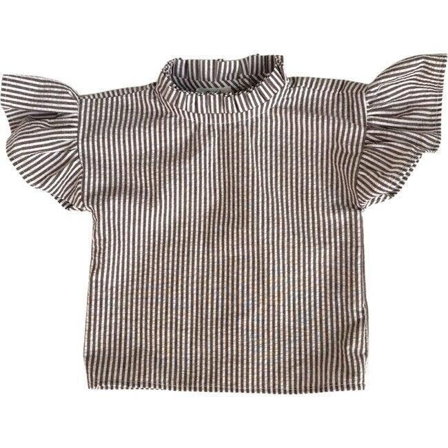 Malia Ruffeled Shirt, Cream & Mocha