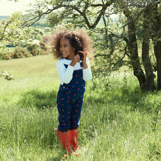 Corduroy Dungarees with Red Spots, Navy