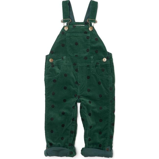 Corduroy Overalls, Green with Black Spots