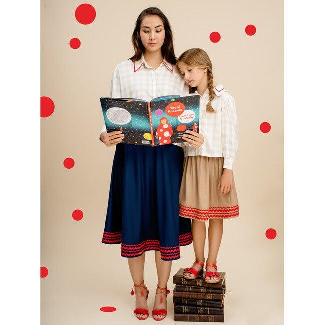 Poet Girls Top, Beige Vichy