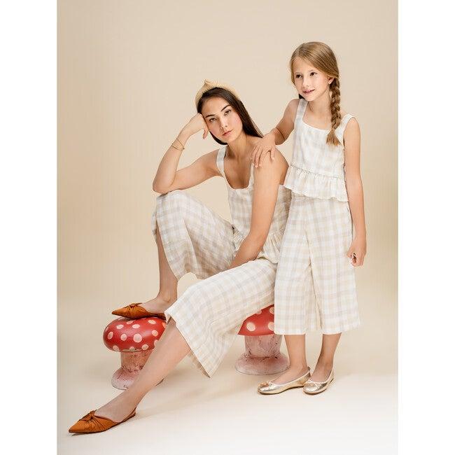 Dreamy Girls Top, Beige Vichy