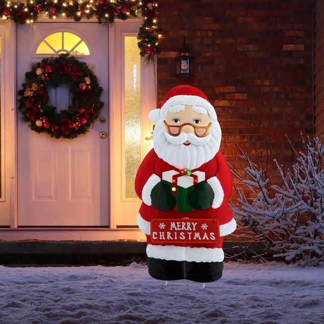Outdoor Metal Santa Sign, Red