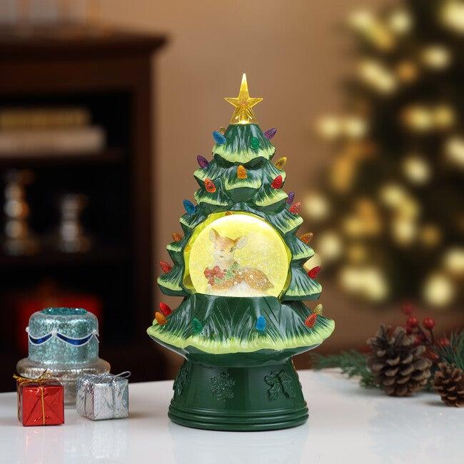 "14"" Reindeer Snow Globe Nostalgic Tree, Green"