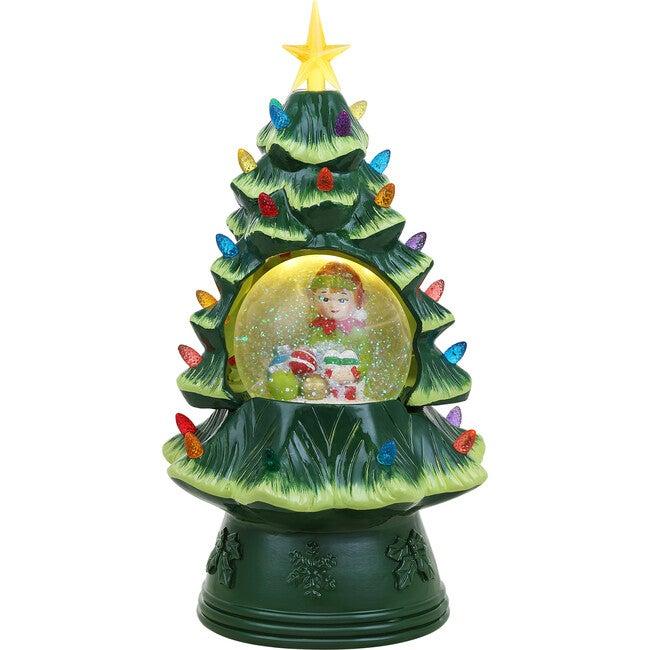"14"" Elf Snow Globe Nostalgic Tree, Green"