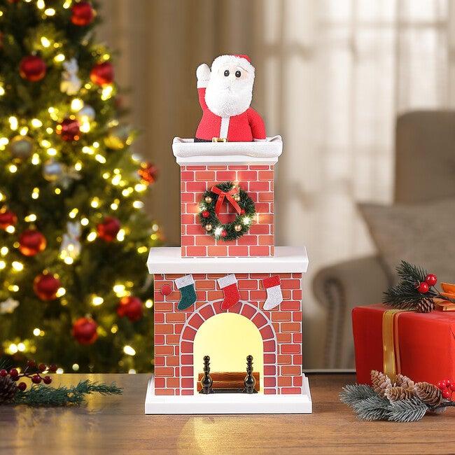 """18"""" Animated Santa in Chimney, Light Skin Tone"""