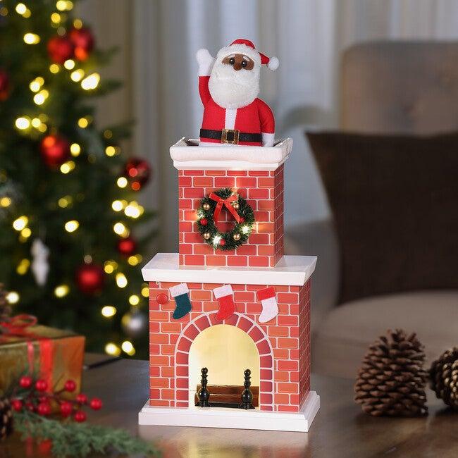 """18"""" Animated Santa in Chimney, Dark Skin Tone"""
