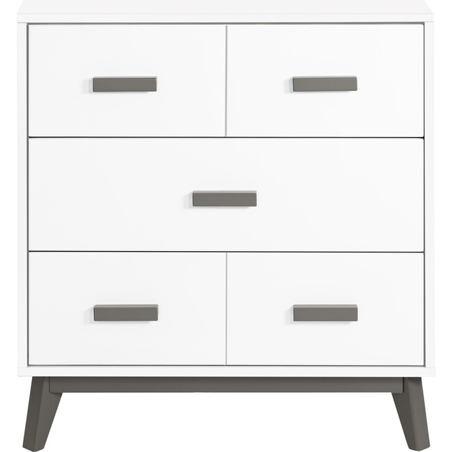 Scoot 3-Drawer Changer Dresser with Removable Changing Tray, Slate/White - Dressers - 1