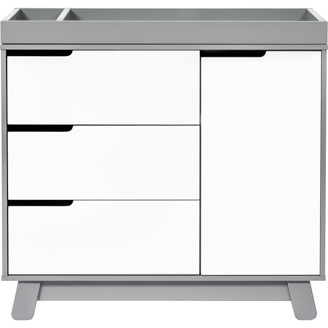 Hudson 3-Drawer Changer Dresser with Removable Changing Tray, Grey/White - Dressers - 1