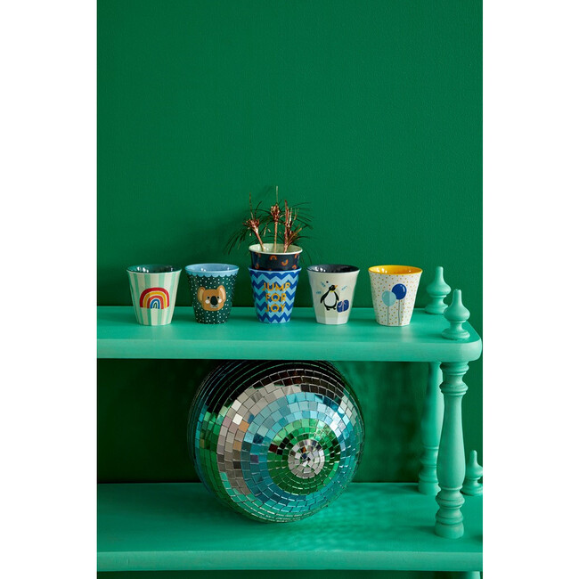 Gift Set of 6 Small Melamine Cups, Party Animal Green