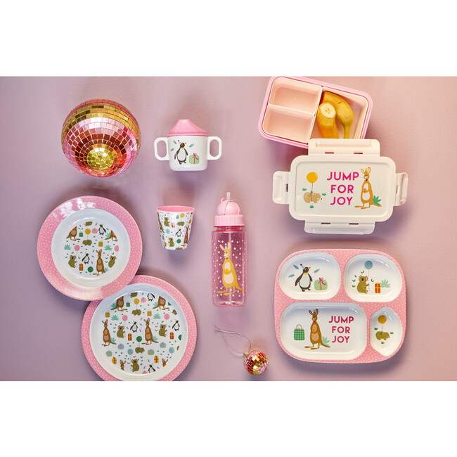Melamine Kids 4 Room Plate, Party Animal Pink
