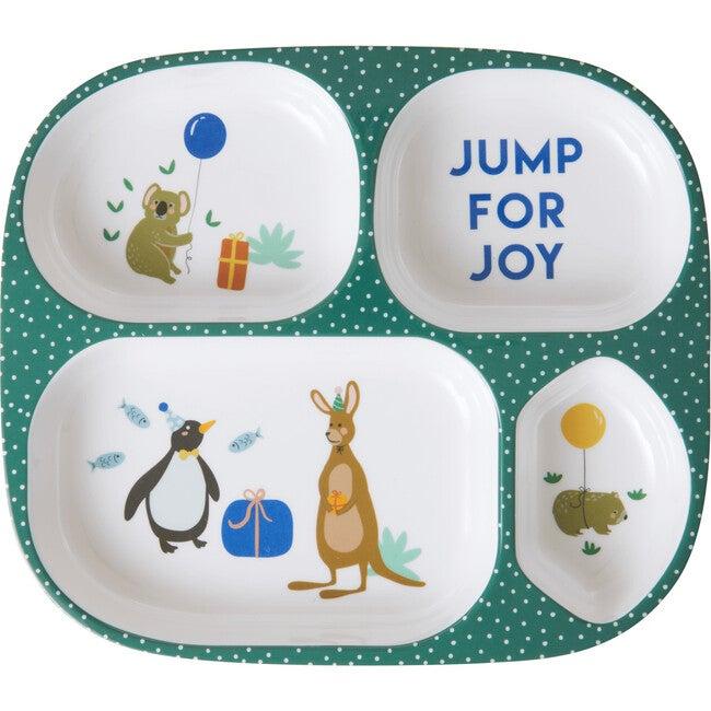 Melamine Kids 4 Room Plate, Party Animal Green