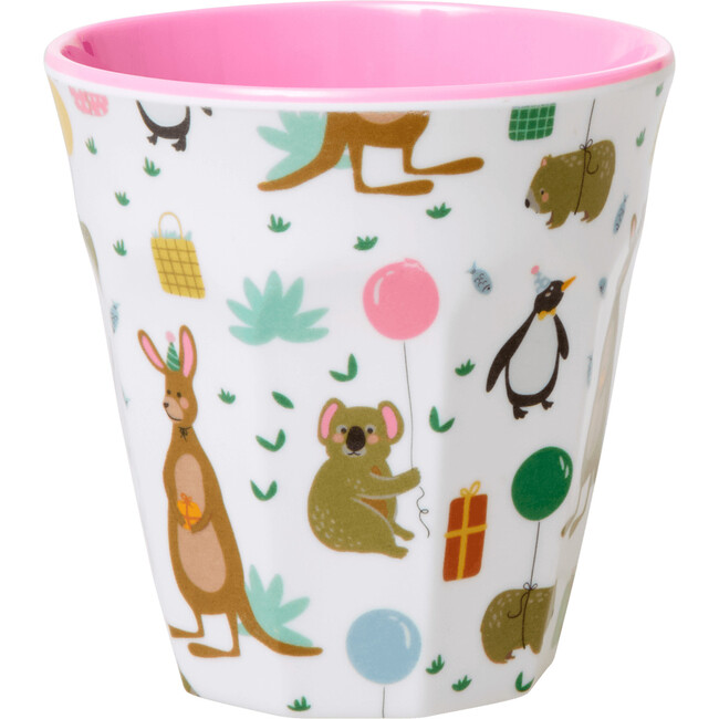 Set of 2 Small Melamine Kids Cup, Party Animal Pink