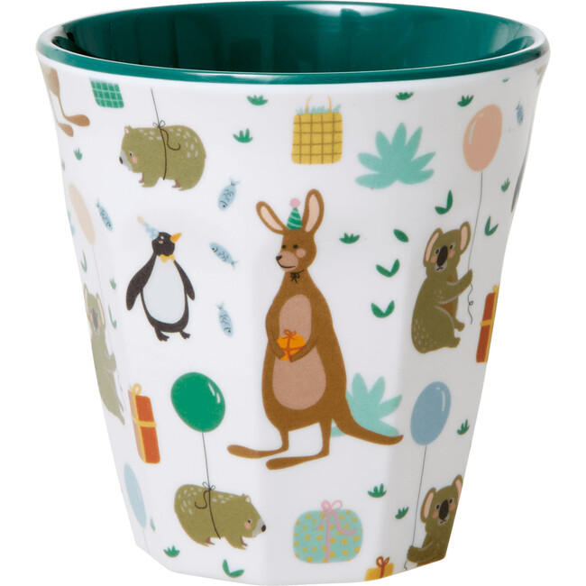 Set of 2 Small Melamine Kids Cup, Party Animal Green