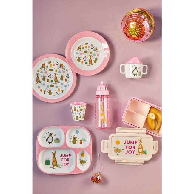 Melamine Kids Lunch Plate, Party Animal Pink
