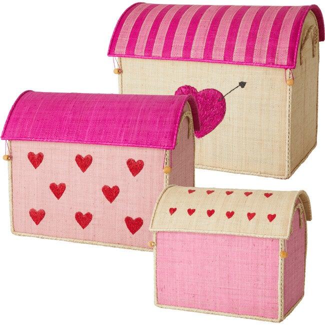 Set of 3 Raffia Storage Baskets, Hearts