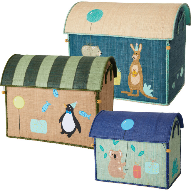 Set of 3 Raffia Storage Baskets, Birthday Animals