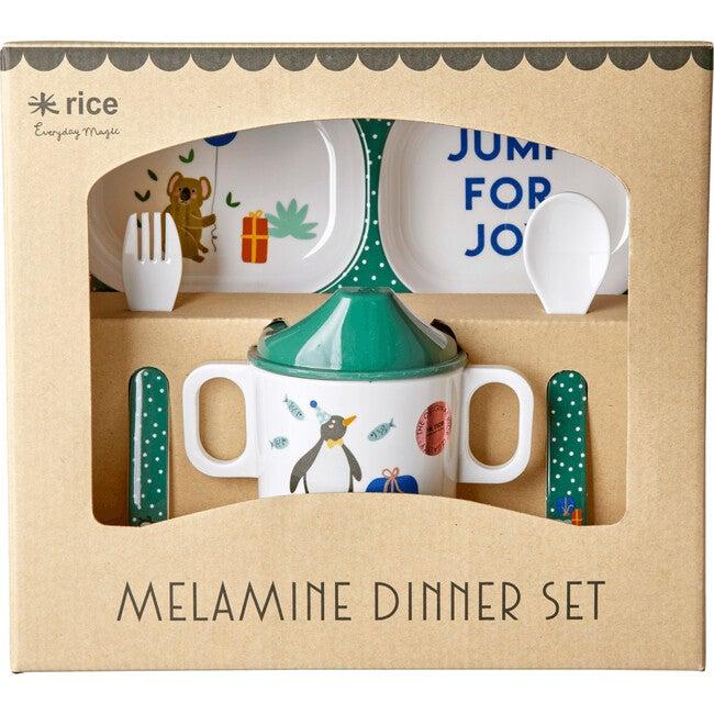 Melamine Baby Dinner Gift Set, Party Animal Green