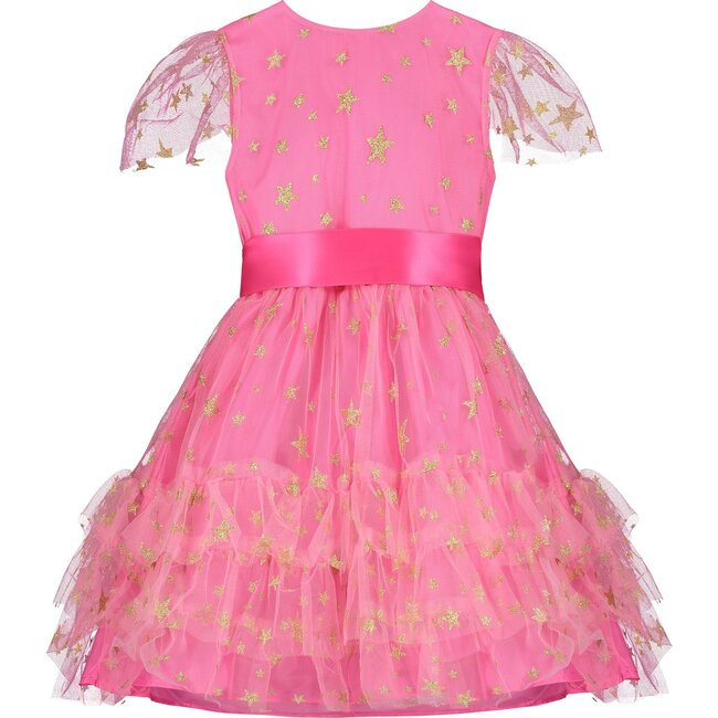 Cinderella Star Tulle Frill Luxury Baby Party Dress, Candy Pink