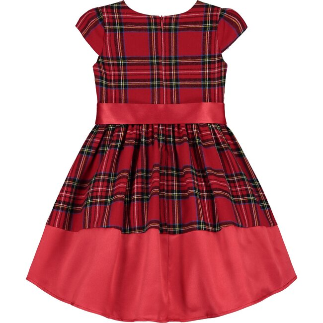 Florence Plaid Cotton Bow Luxury Designer Baby Party Dress, Red