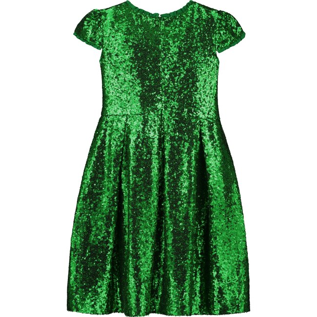 Dazzle Sequin Girls Party Dress, Emerald Green