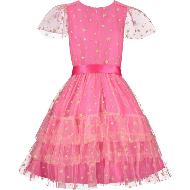 Cinderella Star Tulle Frill Luxury Party Dress, Candy Pink