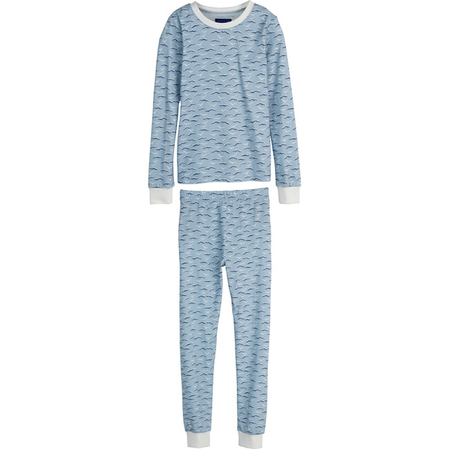Taylor Long Sleeve Pajama Set, Blue Seagulls