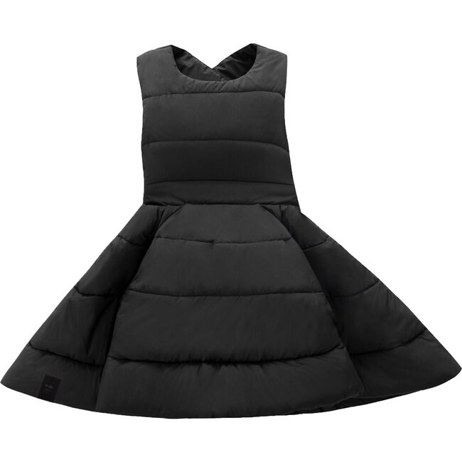 Quilted Nylon Pinafore Dress, Black
