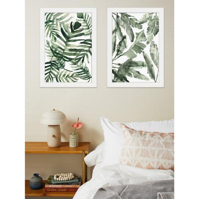 Watercolor Foliage Framed Art, Green