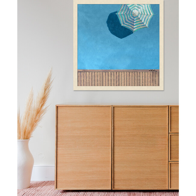Aqua Pool Deck Framed Art, Blue