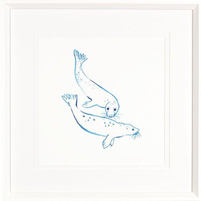 Malibu Seals Framed Art, Blue