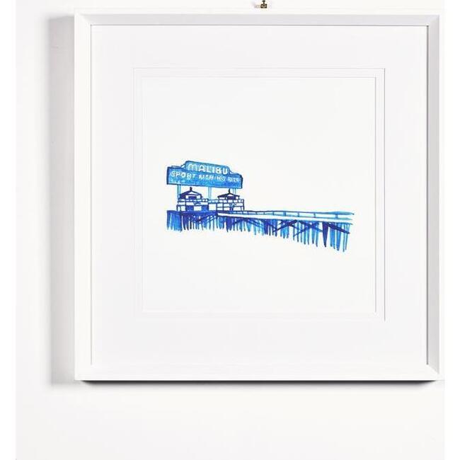 Malibu Pier Framed Art, Blue