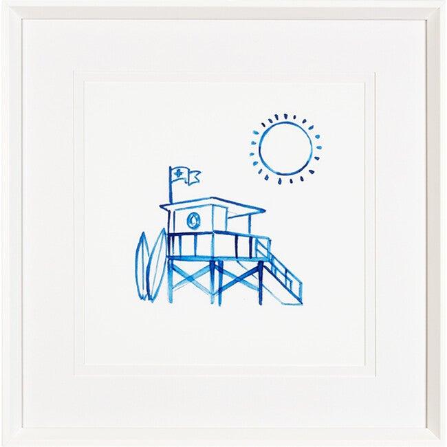 Malibu Lifeguard Stand Framed Art, Blue