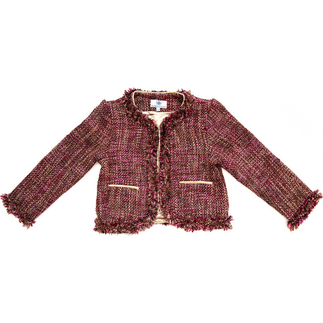 Tweed Coco Jacket, Pink and Gold - Jackets - 1