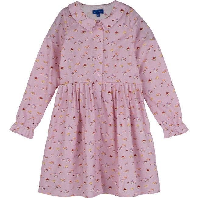 Emma Collared Dress, Lilac Snow Mushrooms