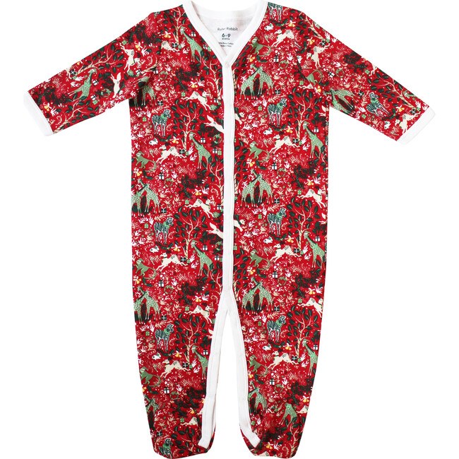 Red Infant Footie Pajamas, Holly Jolly Jungle