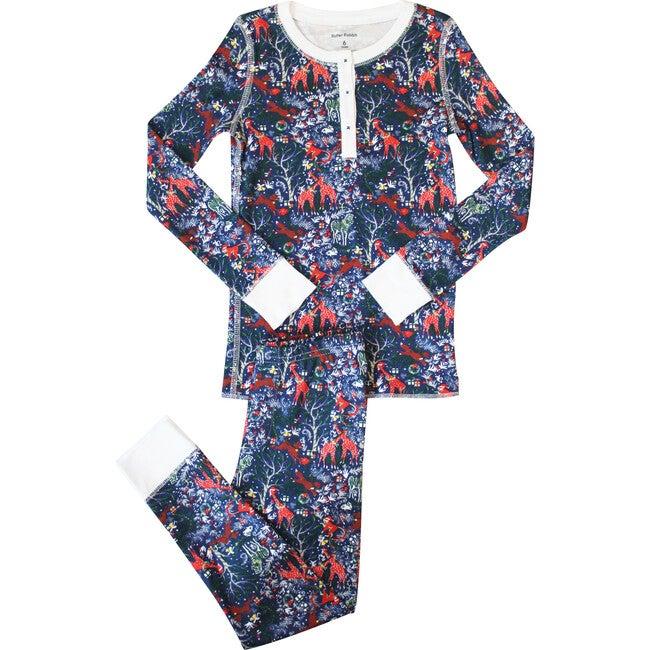 Navy Kids Pajamas, Holly Jolly Jungle