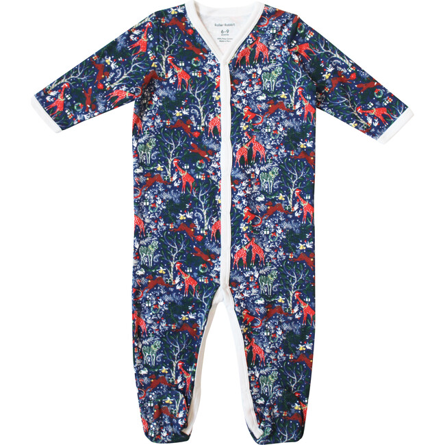 Navy Infant Footie Pajamas, Holly Jolly Jungle