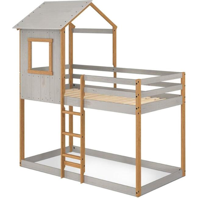 Tree House Twin Bunk Bed, Grey/Natural