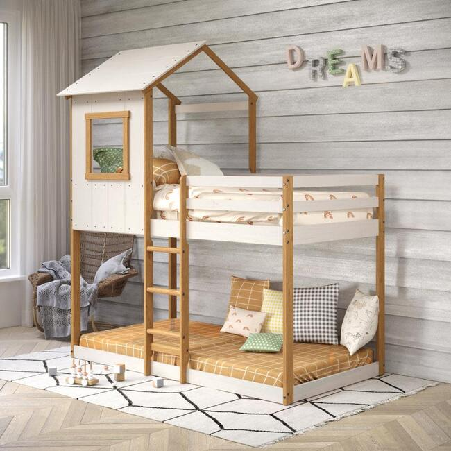 Tree House Twin Bunk Bed, White/Natural