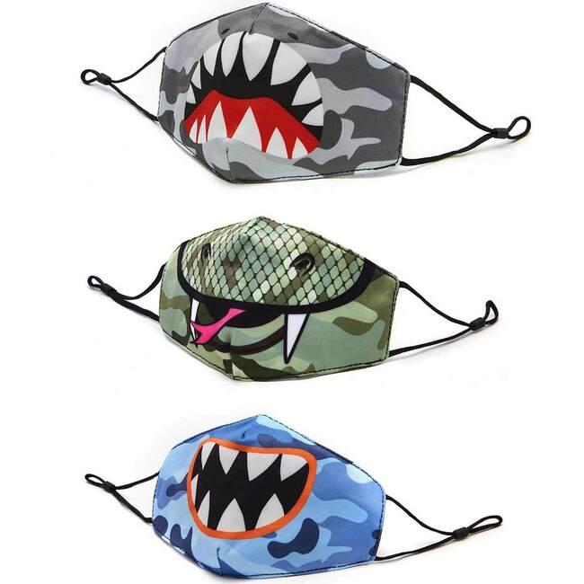Camo Shark, Snake, and Monster Kids 3 Pack Face Mask Set - Face Masks - 1