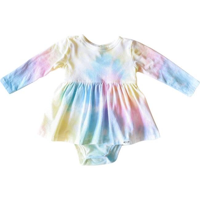 Long Sleeve Bubble Romper, Pastel Rainbow