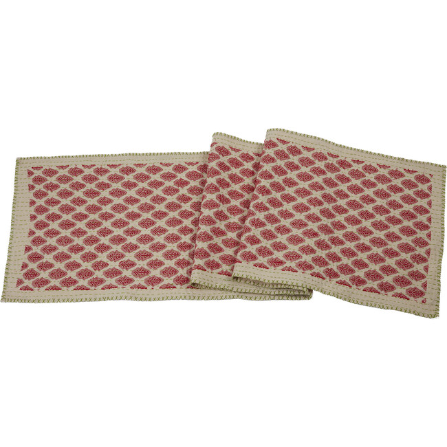 Artisan Hand Loomed Cotton Table Runner, Red with Green Stitching