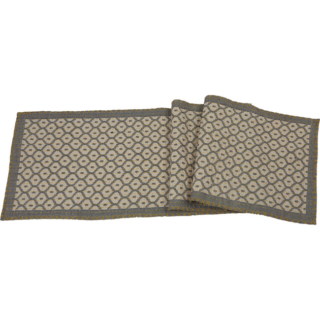 Artisan Hand Loomed Cotton Table Runner, Grey with Yellow Stitching