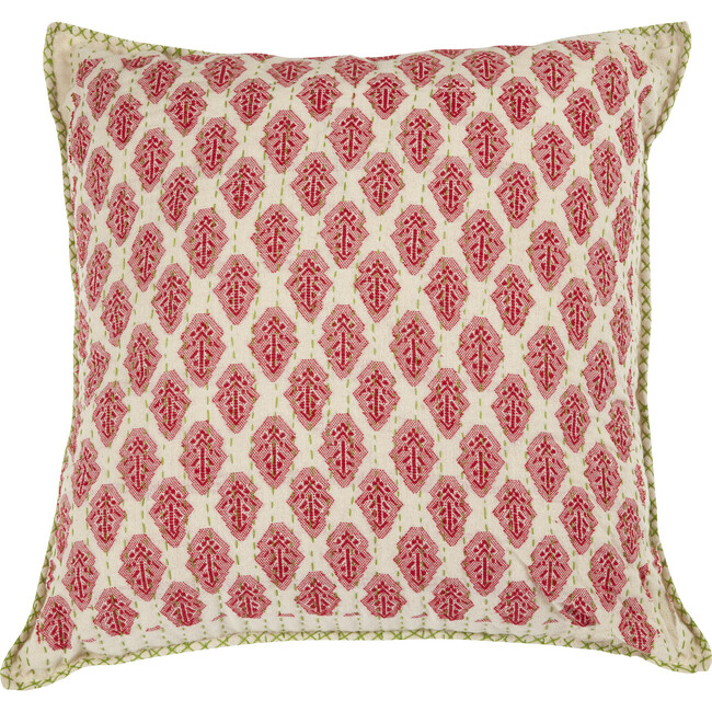 Artisan Hand Loomed Cotton Square Pillow, Red with Green Stitching