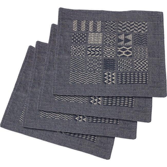 Artisan Hand Loomed Place Mat Set, Indigo Blocks