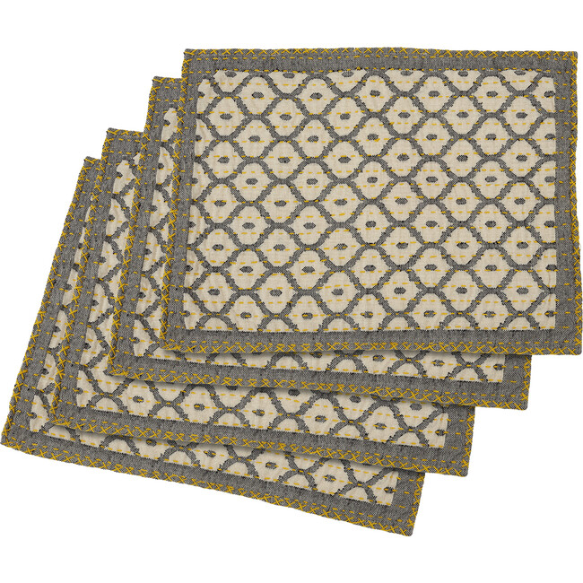 Artisan Hand Loomed Place Mat Set, Grey with Yellow Stitching