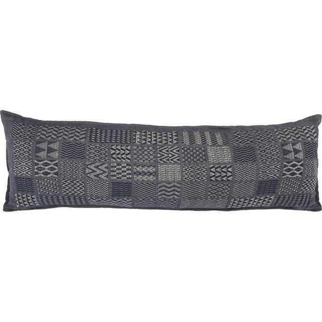 Artisan Hand Loomed Cotton Lumbar Pillow, Indigo Blocks