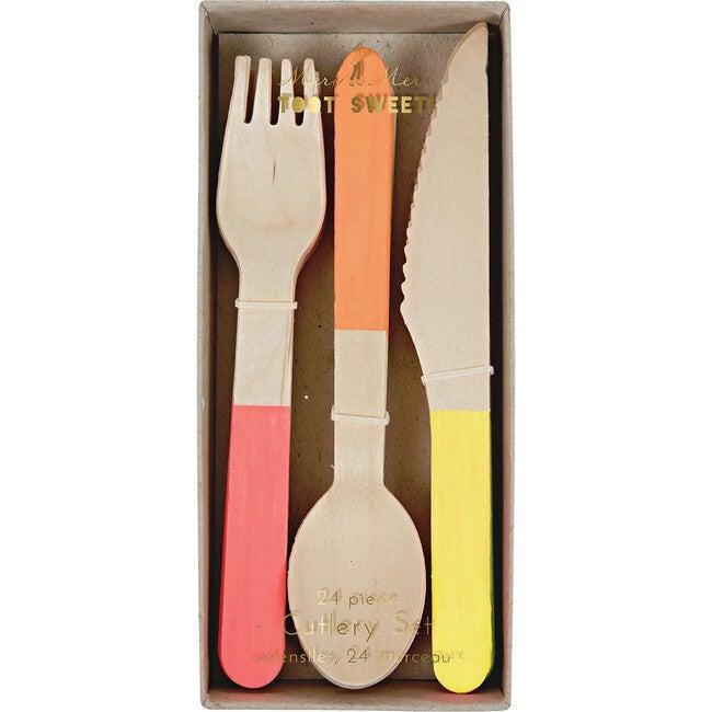 Neon Wooden Cutlery Set